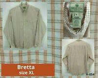 Beretta Mens XL Shirt Red Plaid Long Sleeve Button Up Cotton Button Down Collar