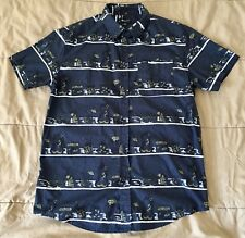Matix Button Up Short Sleeve Collared Shirt Abstract Art Dark Grey Men Sz Medium