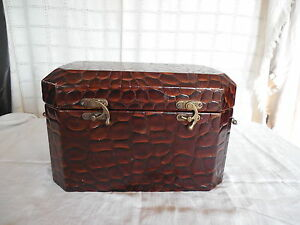 Faux leather trunk, box w/brass tone accent handles & hardware lined
