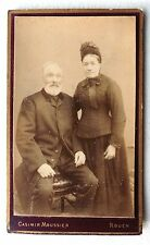 CDV PHOTO CASIMIR MOUSSIER à ROUEN couple agé PHOTOGRAPHIE ANCIENNE E13