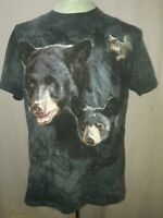 The Mountain 2005 T-Shirt Black Bear Mom & Cub Gray Tie Dye Mens Size Medium EUC