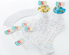 1st Birthday Cupcake Kit Cupcake Wrappers and Toppers Birthday Party Decorations
