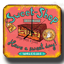 SWEET-SHOP SINCE 1972 VINTAGE RETRO METAL TIN SIGN WALL CLOCK