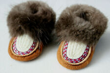 Pair of Dene Childs Moosehide Moccasins With Decorative Quillwork and Beaver Fur