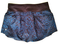 Lululemon Final Lap Skirt Size 4 Skort Shorts Blue Black PLSN Reflective NWT