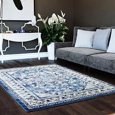 "Vintage Distressed Traditional Rug Blue & Gray Carpet 5' 3"" x 7' 3"""