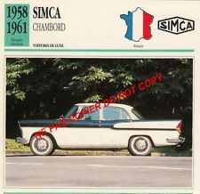 1952 1961 simca chambord v8 luxury ford vedette car because France card sheet