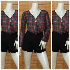AGACI SHEER PLAID CROSSOVER TOP M