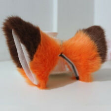 Women Girls Cute Long fur Cat Fox ears Anime Cosplay Hair Clip Orange with brown