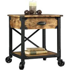 Rustic Side Table with Wheels Living Room Mobile Drawer Sofa End Bed Nightstand