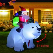 2M Polar Bear Riding Santa Inflatable Christmas Decor For Home Garden Decoration