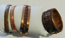 Lot 4 Copper & Copper Color Bracelets Cuff & Hinge 1 w/magnet