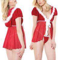 Adult Ladies Sexy Sweet Miss Santa Claus Christmas Underwear Fancy Dress Costume