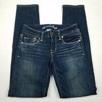 American Eagle Skinny Jeans Womens Size 0 Short Blue Super Stretch Dark Wash AEO