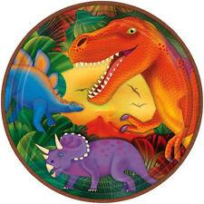 Dinosaur Party Supplies Dinner Plates Metallic Round 9  inch Genuine Licensed