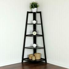 5 Tiers Corner Shelf Stand Wood Display Storage Rack Home Furniture