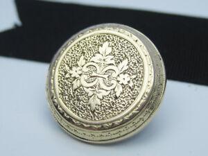 Single Antique Victorian era 14K Yellow Gold CC Engraved Cufflink Collar Button