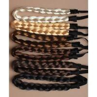 LADIES BRAIDED SYNTHETIC HAIR PLAITED PLAIT ELASTIC HEADBAND HAIRBAND BANDEAU UK