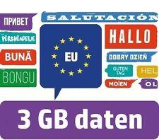 3GB - EU Internet Flat - Europa Daten SIM - Spanien Mallorca Portugal Frankreich