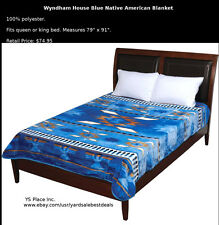Wyndham House Blue Native American Luxury Soft Blanket Queen King Size Bed