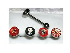 Lot de 4 Piercing sous blister piercing langue Barbell crane flamme piercing lot