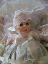 Vintage Gerber 12 Inch Christening Baby Doll With Basket & Bedding