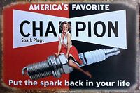 Champion Spark Plug Fridge Magnet Man Cave Sign Pinup Girl Garage BAR Decor