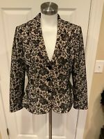 Kay Unger Ivory Blazer w/ Black Floral Lace Overlay, Size 12