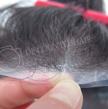 Mens Human Hair Replacement  System Hairpiece Thin Skin Real Mens Toupee 5x7 #1B