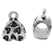 50x Vintage Silver Heart Carved Loop Charms Dangle Beads Fit European Bracelet D