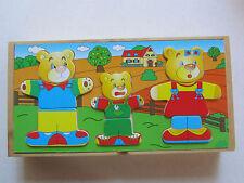 Wooden Bear Family Mix & Match Dress Up Puzzle Box - Mama Papa & Baby Bear - 3+