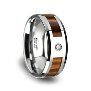 Saber Tungsten Carbide Diamond Ring Beveled Edges And Real Zebra Wood Inlay