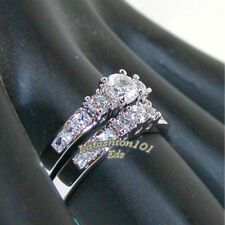 1.35ct Stainless Steel WOMENS WEDDING/ENGAGEMENT 2 RINGS SET SIZE 5-10