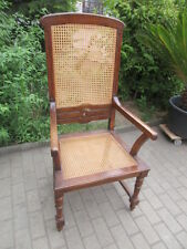 alter Stuhl Armlehnstuhl  Nussbaum Korbgeflecht Gründerzeit um 1890