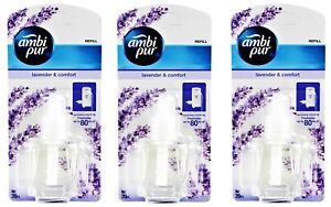 3 x AMBI PUR 20mL ELECTRICAL PLUG IN REFILL LAVENDER & COMFORT Brand New