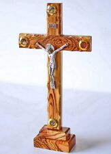 """Handmade Olive Wood Standing Cross Crucifix WIth 4 Lens From Holy Land 7.9"""""""