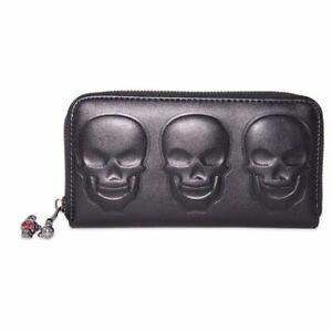Banned Menth Triple Skull Embossed Skull Purse Black Vegan Leather Goth Rock New