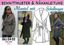 pdf.Schnittmuster und Nähanleitung Mantel mit Schalkragen Gr.:36-52