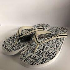 ARMANI JEANS White Logo Printed Flip Flop Sandals Size UK 10 EU 44 RRP £50