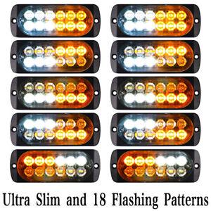 10X Emergency 12 LED Amber White Strobe Light Tow Truck Flashing Warning 12V-24V