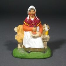 Vintage French Terracotta Santon Provence, The Woman with Aïoli, Signed Carbonel