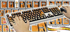 Tiger Fur Background Computer Keyboard Stickers English & Russian Letter