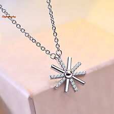 18k White Gold Plated Made with Swarovski Crystals Sun Flower Necklace N98