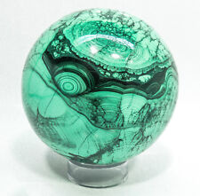 "4.09"" BEAUTIFUL POLISHED MALACHITE SPHERE 4 1/2 LBS CONGO E-314"