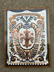 """18""""x24"""" Marble Coffee Corner Side Table Top Pietra Dura Antique Inlay E838"""