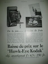 PUBLICITE DE PRESSE KODAK APPAREIL PHOTO HAWK-EYE FRENCH AD 1930