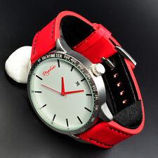 XXL Psychoo Herren Armbanduhr Rot Silber Datumsanzeige Elegant Sportlich Uhr