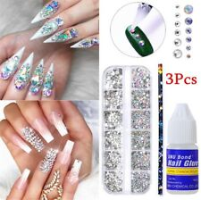 3Pcs/set Crystals Beads Stud with Picker Pen and Nail Glue Manicure DIY 3D Decor
