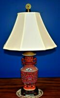 """27""""   CHINESE PORCELAIN VASE TABLE LAMP-RED PHOENIX-ORIENTAL-ASIAN"""