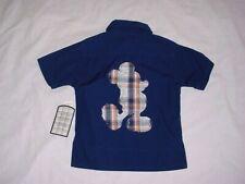 New listing Nwt Disney Store Boys Mickey Mouse Plaid Applique Button Down Shirt Xxs 2/3